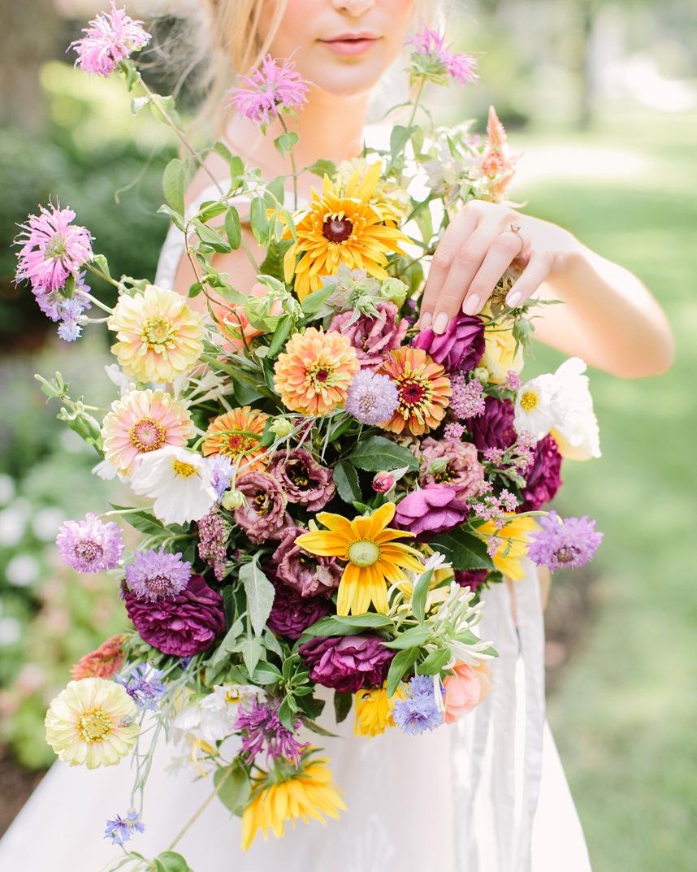 tin cup farm yellow purple bouquet