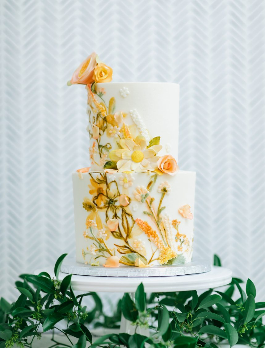 ashleycakes yellow floral wedding cake