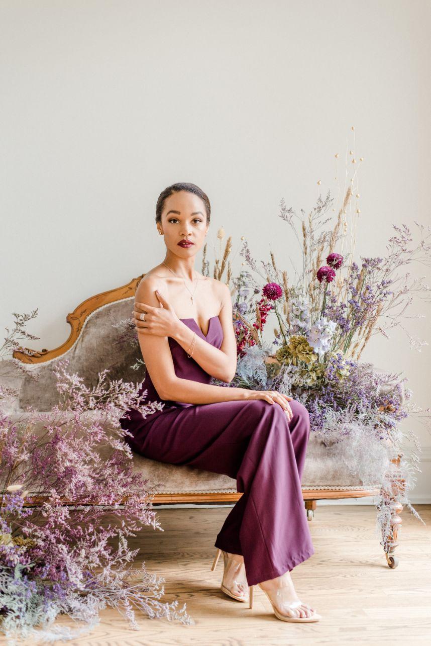 plum floral chair installation