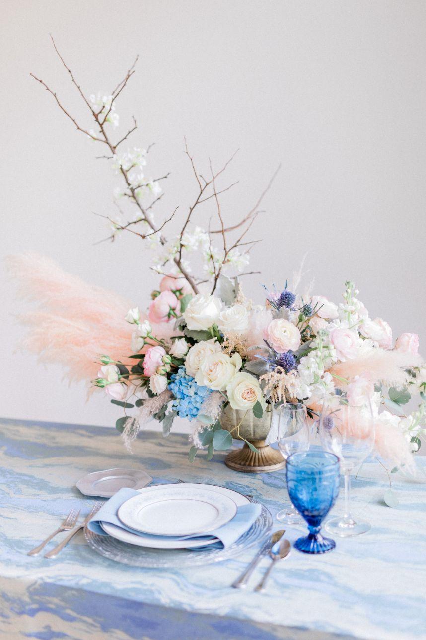 pastel blush blue centerpiece