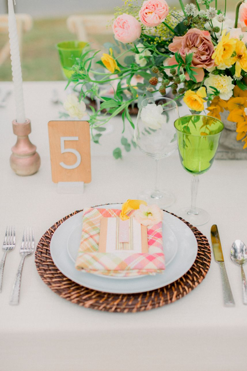 plaid napkin place setting