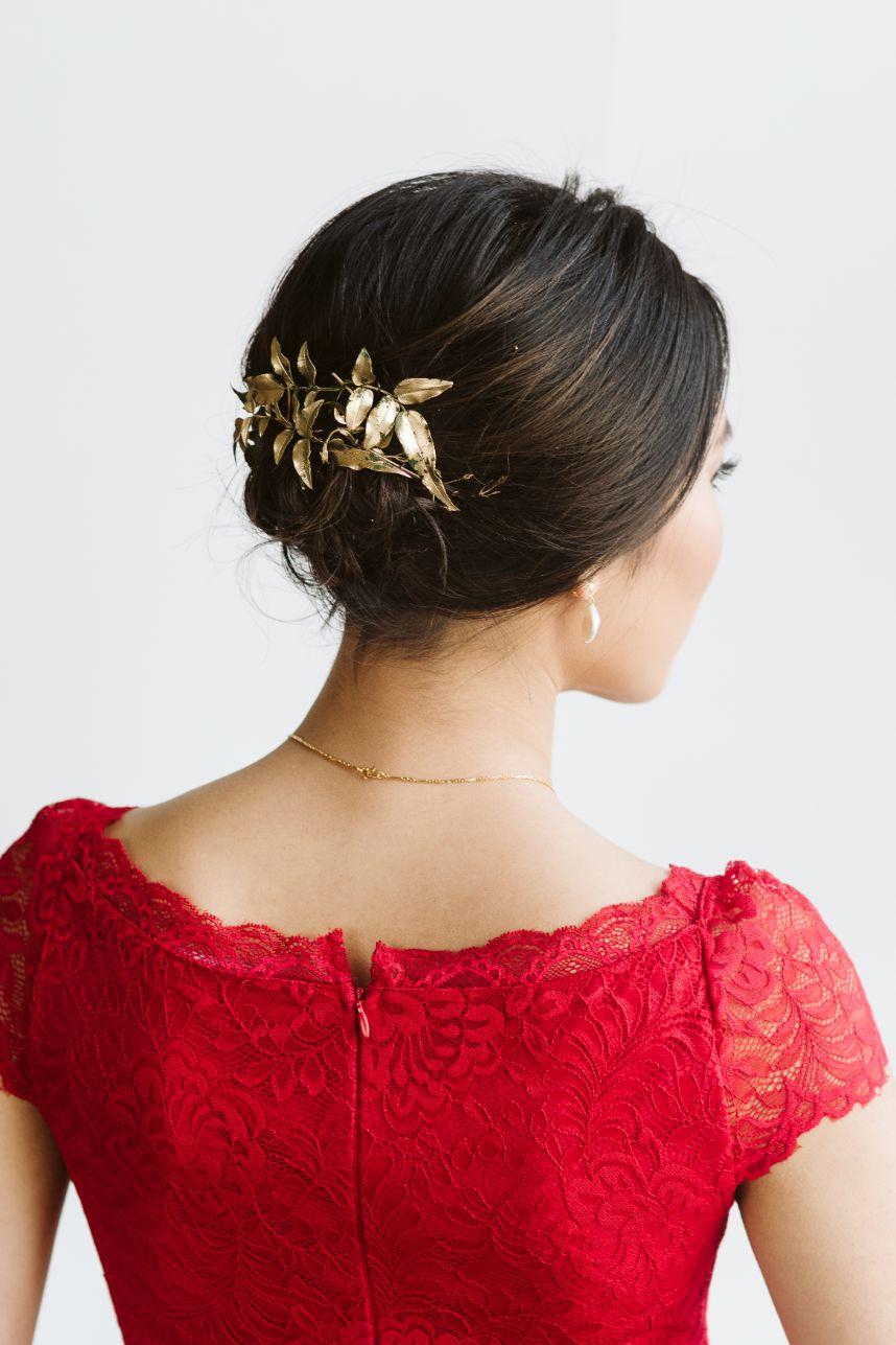 gold leaf hair accessory