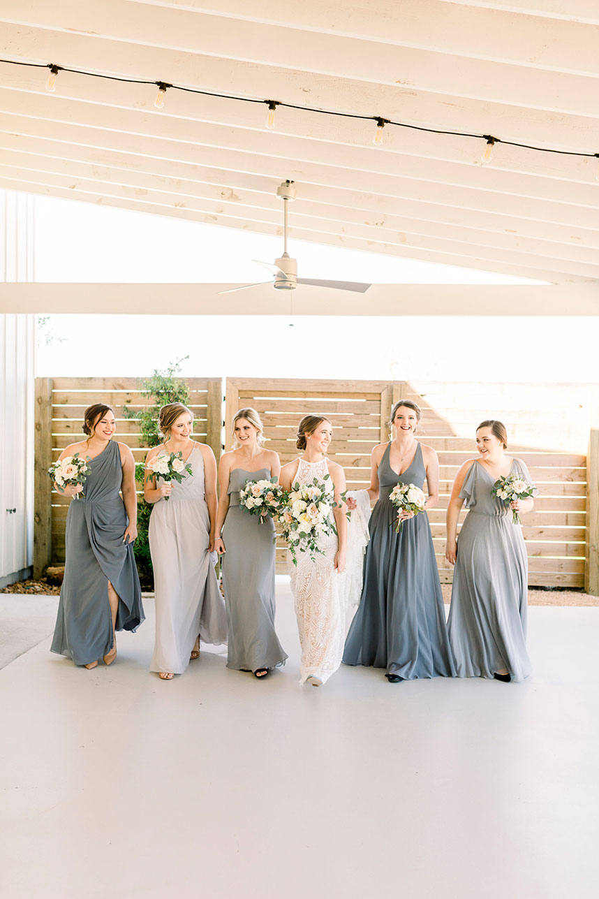 dusty blue bridesmaids dresses + wedding guest attire terms