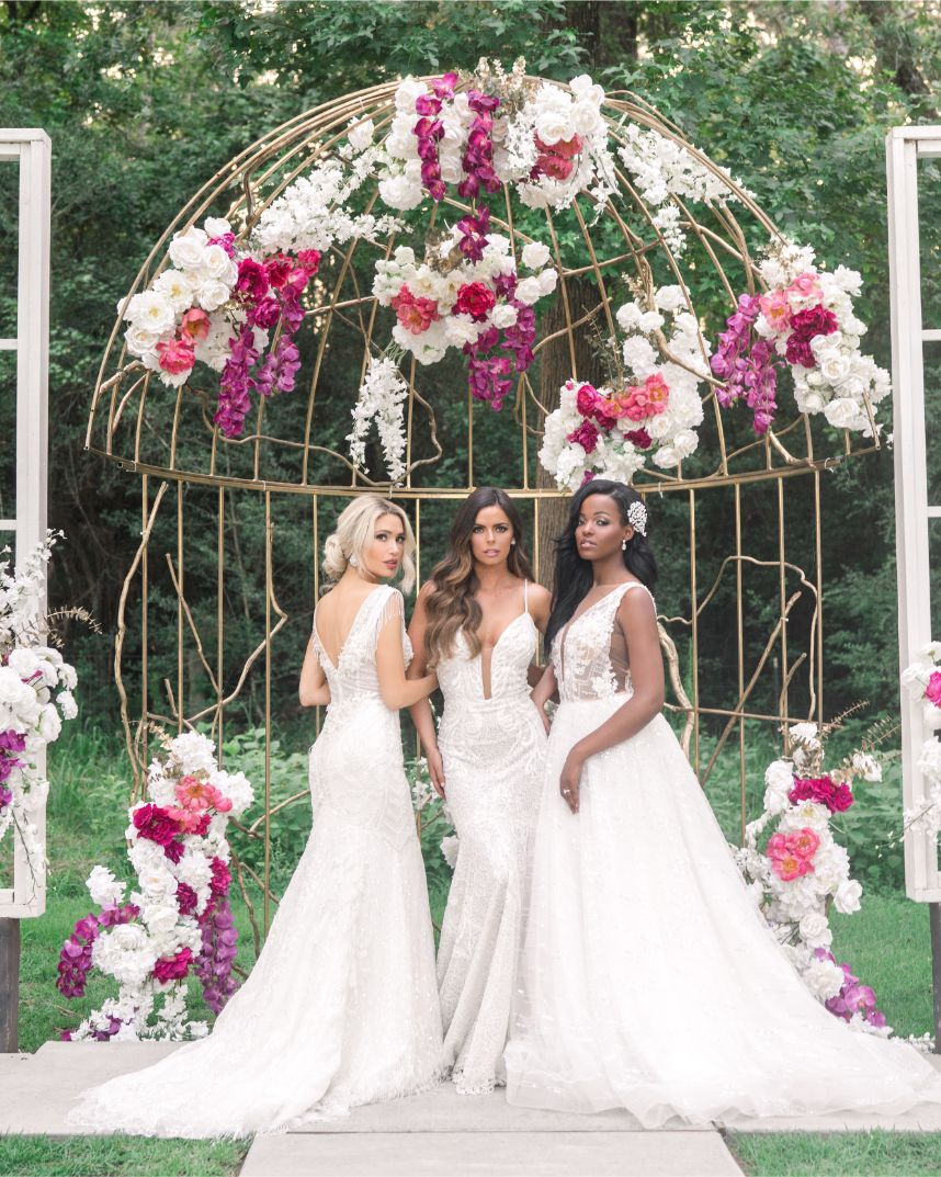 3 brides showing off gowns - each enneagram type as a bride