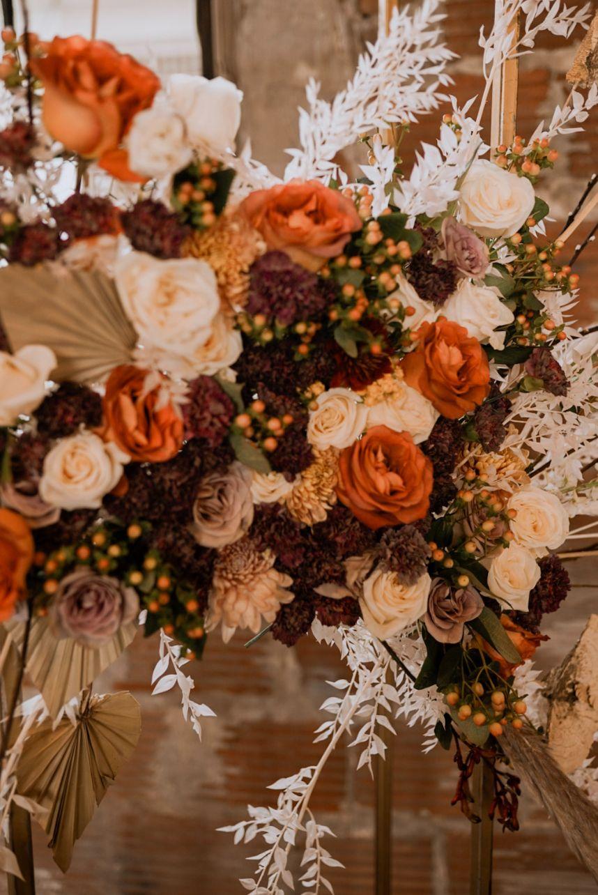 orange boho florals